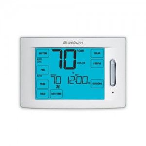 Braeburn 6300 Thermostat, Deluxe Series Universal Touchscreen Programmable, Up to 3 Heat/2 Cool Conventional & 4 Heat/2 Cool Heat Pump