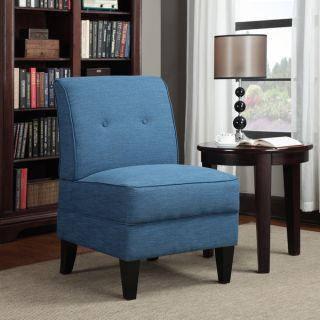 Portfolio Engle Caribbean Blue Linen Armless Chair   14084712