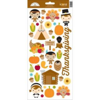 """Fall Friends Cardstock Stickers 6""""X13"""" Give Thanks Icons"""