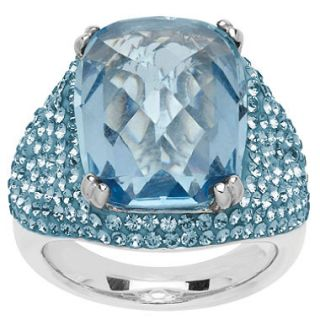 Blue Crystal Cushion Cut Pave Ring in Sterling Silver