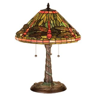 Tiffany Dragonfly with Twisted Fly Mosaic Base 21 H Table Lamp with