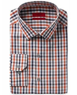Alfani RED Fitted Performance Rust Navy Heathered Check Dress Shirt