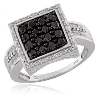 JewelersClub 1.00 CTW Round & Baguette cut Black & White Diamond Square Sterling Silver Ring
