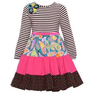 Counting Daisies Little Girls Brown Stripe Floral Dot Paneled Dress 2T