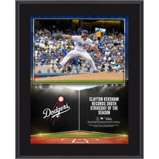 Clayton Kershaw Los Angeles Dodgers  Authentic 10.5 x 13 300 Strikeouts in a Season Sublimated Plaque