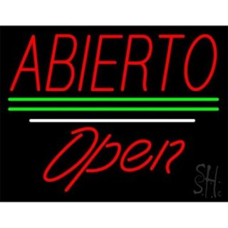 Sign Store N100 3865 clear Abierto Green Lines Open White Line Clear Backing Neon Sign, 31 x 24 x 1 inch