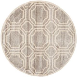 Safavieh Amherst Light Grey/Ivory 5 ft. x 5 ft. Round Indoor/Outdoor Area Rug AMT411B 5R