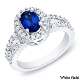 Auriya 14k Gold 3/5ct TDW Sapphire and Diamond Engagement Ring (H I