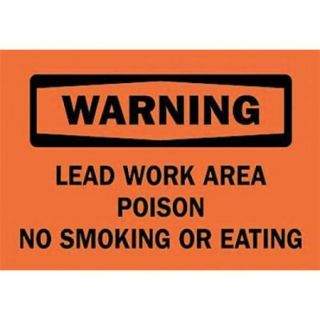 BRADY 25740 Warning No Smoking Sign, 7 x 10In, BK/ORN