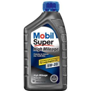 Mobil Super 5W 20 High Mileage Motor Oil, 1 qt.