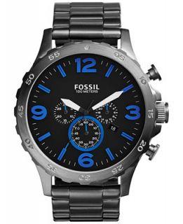 Fossil Mens Chronograph Nate Smoke Tone Stainless Steel Bracelet