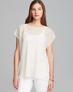 Eileen Fisher Jewel Neck Cap Sleeve Top