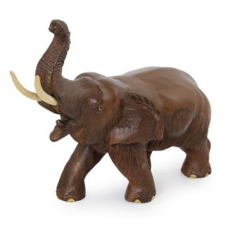 Handcrafted Rain Tree Wood Elephant Delight Sculpture (Thailand