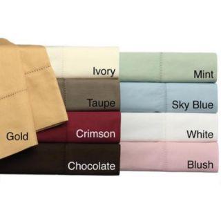 Camden Hemstitch Solid 350 Thread Count Egyptian Cotton 6 piece Sheet Set Twin   Chocolate