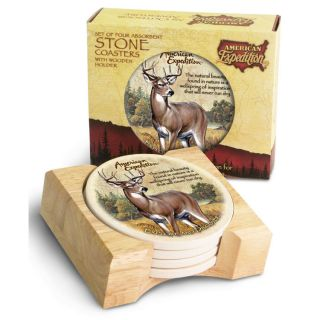 American Expedition 5 Piece Whitetail Deer Stone Coaster Set