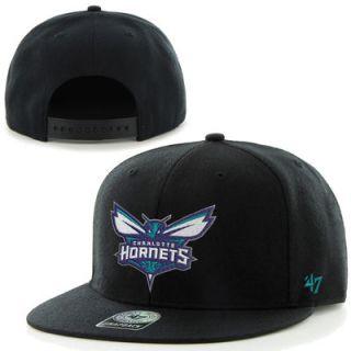 47 Brand Charlotte Hornets Bushwick Throwback Logo Snapback Hat   Black