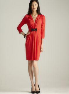 Sinequanone V Neck 3/4 Sleeve Leather Bow Dress
