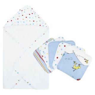 Trend Lab Dr. Seuss 1 Fish 2 Fish 6pc Hooded Towel Baby Bath Set