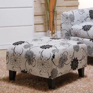 Armen Living LC2013COTFAWH Marietta Black and White Floral Pattern Ottoman