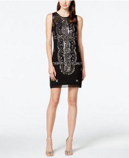 Adrianna Papell Embellished Sleeveless Chiffon Dress   Dresses   Women