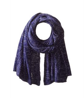 San Diego Hat Company BSS1517 Blanket Scarf with Cable Stitch and Silver Metallic Yarn Cobalt