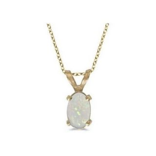 Seven Seas Jewelers Oval Opal Solitaire Pendant Necklace in 14K Yellow Gold (0.27ct)