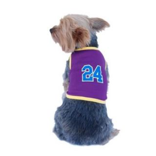 Blue Yellow Number 24 Soft Basketball Jersey For Dog   Small