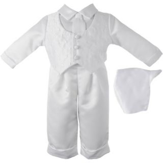 Christening Baptism Newborn Baby Boy Special Occasion 3 Pc Satin Long Pant Outfit Set w/ Diamond Embroidered Vest