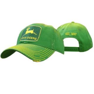 John Deere Men's One Size 6 Panel Twill Hat/Cap in Green with Vintage Trademark 13080295GR00