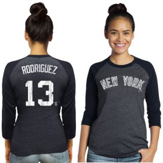 Majestic Threads Alex Rodriguez New York Yankees Womens Navy Name & Number Raglan Three Quarter Sleeve T Shirt