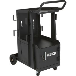 Klutch 2-Tier Welding Cart with Locking Cabinet — 27 1/4in.L x 18 3/4in.W x 35 3/4in.H  Welding Carts   Cabinets