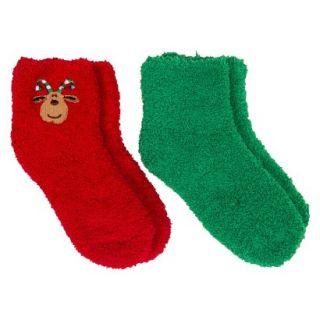 Girls 2 Pack Reindeer Fuzzy Socks   Red/Green