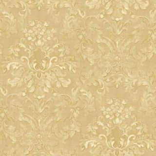 The Wallpaper Company 8 in. x 10 in. Beige Floral Damask Watercolor Wallpaper Sample WC1281908S