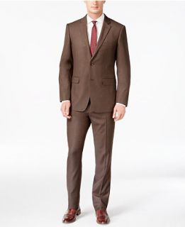 Perry Ellis Slim Fit Brown Sharkskin Suit   Suits & Suit Separates