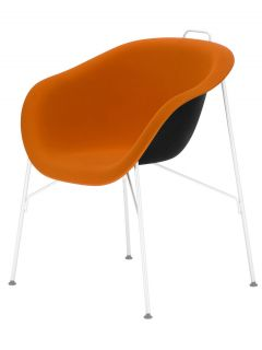 Eu/phoria Soft Armchair   Rubber fabric seat White structure / Orange Soft fabric by Eumenes