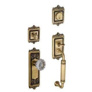 Grandeur Windsor Single Cylinder Vintage Brass C Grip Handleset with Versailles Knob WINCGRVER 70 VB