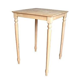 International Concepts 42 x 30 x 30 Square Solid Wood Top Table W/Turned Legs, Unfinished