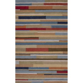 Hand Tufted Geometric Pattern Blue\Red (5x8) Area Rug   17152105