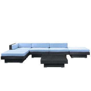 East End Imports EEI 608 EXP LBU SET Laguna Outdoor Rattan 6 Piece Set in Espresso with Light Blue Cushions