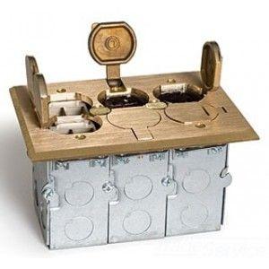 Lew Electric SWB 6P2Q LR Floor Box, Flip Lid 3 Gang Box w/(1)Duplex & 2 Data   Brass
