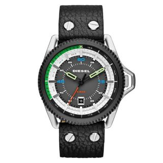 Diesel Mens Rollcage Grey and Black Leather Quartz Watch   18791983