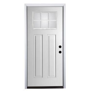 Therma Tru Benchmark Doors Craftsman Glass Craftsman Insulating Core Craftsman 6 Lite Left Hand Inswing Fiberglass Unfinished Prehung Entry Door (Common: 36 in x 80 in; Actual: 37.5 in x 81.5 in)