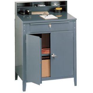 Lockable, Steel Shop Desk w/ Cabinet