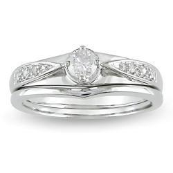 14k White Gold 1/4ct TDW Diamond Bridal Ring Set (H I, I2 I3