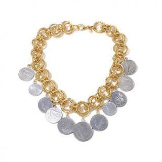 """Bellezza Multi Lira Coin Bronze 18"""" Dangle Necklace   8066267"""