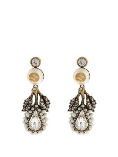 Pearl effect embellished flower earrings  Gucci US