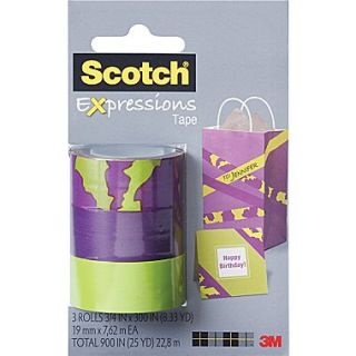 Scotch Expressions Tape, Animal, Purple, Green, Removable, 3/4 x 300, 3/Pack