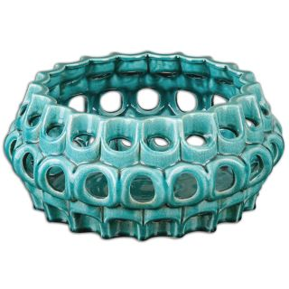 Uttermost 19890 Idola Ceramic Bowl in Teal Blue