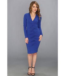 Nicole Miller Heather Jersey V Neck L S Tucked Dress Egyptian Blue, Blue