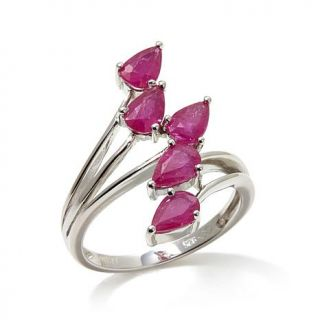 """Colleen Lopez """"Petals and Poetry"""" 2.25ctw Ruby Sterling Silver 5 Row Bypass Rin   8108663"""